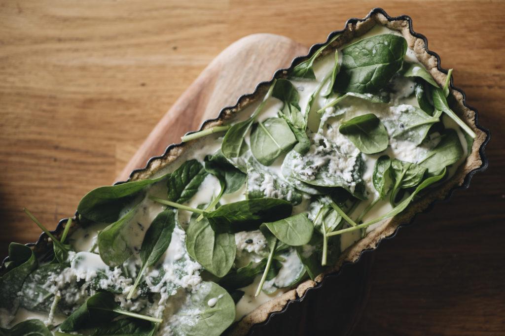 Slaný špenátový koláč, quiche
